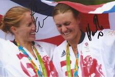 ROWING: HELEN GLOVER & HEATHER STANNING SIGNED 6x4 RIO 2016 GOLD MEDAL PHOTO+COA