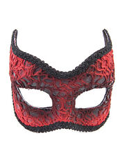 Adults Red Lace Devil Venetian Masquerade Half Mask