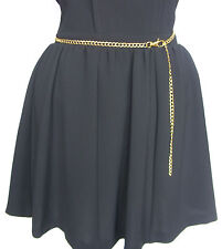 A New Skirt Dress Jeans  Adjustable Length Gold Tone Metal Body Chain Waist Belt