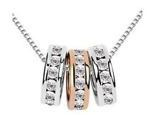 Gold Plated 3 Rings Crystal Swarovski Elements Necklace N001