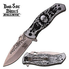 "8.75"" GREY SKULL SPRING ASSISTED FOLDING KNIFE Blade pocket open switch"