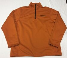 Men's Orange Timberland 1/4 Zip Up Pull Over Sweatshirt Fleece Lined Size Med (