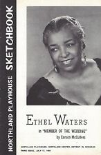 """Ethel Waters """"MEMBER OF THE WEDDING"""" Carson McCullers 1956 Detroit Playbill"""