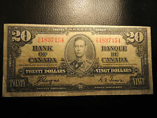 1937 BANK OF CANADA $ 20 TWENTY DOLLARS H/E 1837154 COYNE TOWERS BC-25c