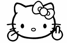 FUNNY HELLO KITTY GIVING FINGER CAR DECAL