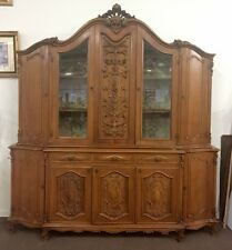 Rare Antique French country Heavily Carved China Cabinet
