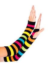 Gloves Bright Neon Rainbow Stripe Gauntlet NWT Women's 90-160 lbs