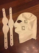 Bidding Latex Rubber Gummi Mask Hood eyes mouth blindfold back zipper cool 0.7mm