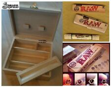NEW KING SIZE Rolling Stash Box RAW BUNDLE Papers+Storage Tin+Roller+Gummed Tips