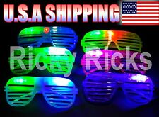12 Light-Up Shutter Glasses LED Shades Sun Glasses Flashing Rock Wedding Party