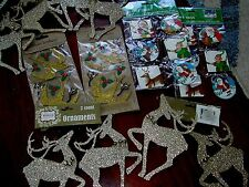 NWT Lot 12 Gold Glitter Christmas Ornaments Decorations Reindeer BIRDS+ 24 TAG..