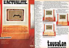 PUBLICITE ADVERTISING 104  1982  TOUSALON  ESPACE CONTEMPORAIN  banquette-lit 2p