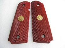 COOL 1911 ALL CHECKERED PATTERN HARD WOOD GRIPS KIMBER COLT  1911 FULL SIZE