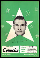 1964-65 HOCKEY WHL PROGRAM VANCOUVER CANUCKS VS PORTLAND BUCKAROOS LARRY CAHAN