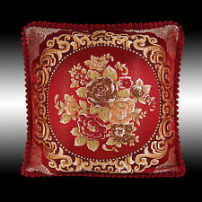 BURGUNDY FLOWERS TAPESTRY VELVET THROW PILLOW CASE CUSHION COVER CHAIR PAD 19""
