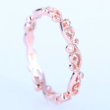 Solid 14K Rose Gold Filigree Natural Diamonds engagement Wedding Band Fine Ring