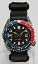 SEIKO 7002-7001 Vintage Diver Watch 6105 Dial Pepsi Automatic Leather ZULU