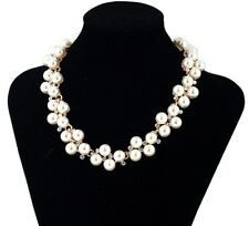 wedding Gold Crystal Rhinestone Pearl Chain Bib Statement Crew Necklace Gift P61