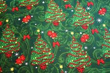 #I210 Christmas Fabric, Christmas Trees w Ribbons BTFQ FAT QUARTER