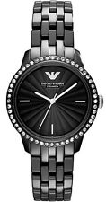 NEW EMPORIO ARMANI BLACK CERAMIC CRYSTAL STAINLESS STEEL LADIES WATCH AR1478
