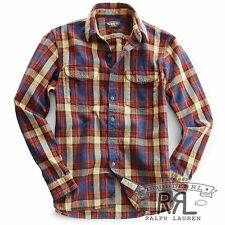$225 RRL RalphLauren Ivy Rust Sweet ORR Brushed Cotton Work Shirt-MEN-XXL