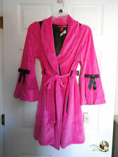 Betsey Johnson Hot Pink Velour & Black Satin Fancy Robe Size Small *NWT* Gift