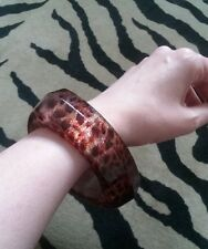 Chunky Brown Leopard Animal Print & Glitter Plastic/Lucite? Triangle Bangle