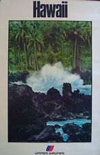 UNITED AIRLINES HAWAII Vintage Travel poster 1980 waves on rock 25x40 NM