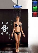 "Luxury Bathroom Shower Set LED 12"" Round Shower Head w/ Body Massage Spray Jets"