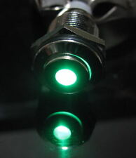 12V Metal Switch Latching Push Button Brass Green Led High Flat 16mm