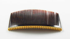 14K Gold Beaded Victorian Edwardian Faux Tortoise Shell Hair Comb