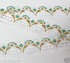 green 10yd Unilateral Handicrafts Embroidered Net Lace Trim Ribbon