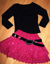 GIRLS BLACK TOP & PINK SPARKLE PRINT OCCASION RUFFLE SKATER PARTY SKIRT age 8-9