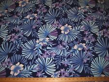 "NAVY BLUE/PURPLE TROPICAL PRINT ACROSS THE GRAIN STRETCH COTTON FABRIC 60"" W BTY"