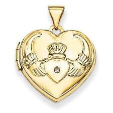 15mmX15mm 14K Yellow Gold Claddagh Diamond Heart Locket W/ Engraving