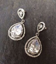 CZ TEARDROP WEDDING EARRINGS CUBIC ZIRCONIA DESIGNER VINTAGE BRIDE JEWELRY gift