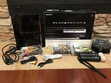 Black PlayStation 3 Console 60GB CHECHA01 with 4 Controllers and 9 Games