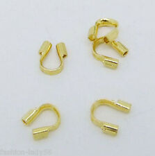 100pcs Gold Wire Guardian Protectors Crimp loops Jewelry findings 4x5mm Pick