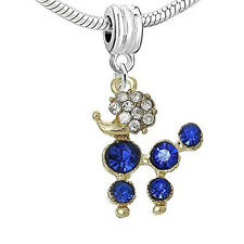 Poodle Dog With Roayl Blue Crystals Dangle Charm European Bead Compatible for Mo