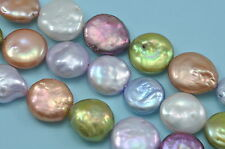 12-13mm Pupple Lilac Green Mixed Colour  Coin Flat Disc Freshwater Pearls Beads
