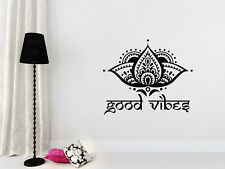 Lotus Flower Wall Decal Yoga Decal Good Vibes Vinyl Sticker Bedroom Decor T102