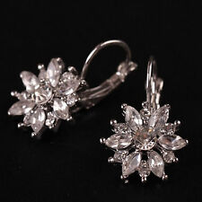 18K 18ct White Gold Plated Dangle Drop Flower Earrings Clear SWA Crystals -215