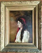 OLD MASTER 18th Century Portrait OIL PAINTING Beautiful Woman  GOLD GILT FRAME
