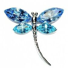Aqua Blue w Swarovski Crystal Bridal Wedding ~DRAGONFLY~ Jewelry Sash Pin Brooch