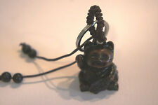 LUCKY CAT KEY RING - ORIENTAL LUCKY CAT KEY RING WITH BRAIDED CORD AND BEADS