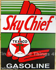 Texaco Sky Chief TIN SIGN vtg Gasoline Garage gas pump ad metal wall decor 805