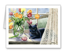 BLACK CAT IN THE WINDOW Set of 10 Note Cards With Envelopes