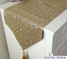 200cm x 33cm Home Decor Event Table Stunning Sequins Bed/Table Runner-Gold
