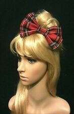 "6"" Large Royal stewart tartan hair bow clip slide. Pin up. Punk. Goth. GIFT"