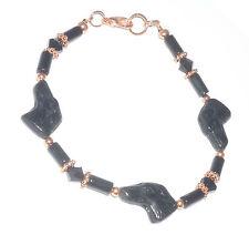 Designer Beaded Bracelet w Czech Glass Greyhound Head Beads, Onyx, Swarovski